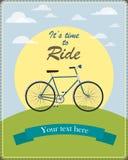 Weinlesekarte veranschaulichte ein Retro- Fahrrad Lizenzfreies Stockfoto