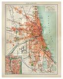 Weinlesekarte von Chicago Lizenzfreie Stockfotografie