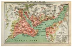 Weinlesekarte von Konstantinopele Lizenzfreie Stockbilder