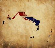 Weinlesekarte von Türken und von Caicos auf Schmutzpapier lizenzfreies stockfoto