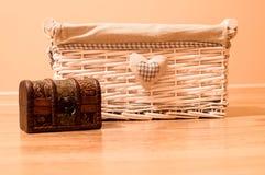 Weinlesekasten für Hauptmaterial lizenzfreies stockfoto