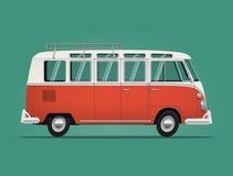 Weinleseklassikerbus Karikatur redete Illustration an Stockfoto
