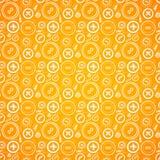Weinleseknöpfe nähen nahtloses Muster in der Orange Stockfotos