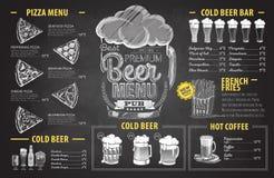 Weinlesekreidezeichnungs-Biermenüdesign Hochzeitsabendessen mit Rollenfleisch rauchte und Tomaten lizenzfreie abbildung