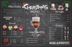 Weinlesekreidezeichnungs-Weihnachtsmenüdesign Hochzeitsabendessen mit Rollenfleisch rauchte und Tomaten stock abbildung