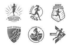 Weinleselaufsportvereinvektoraufkleber und -embleme stock abbildung