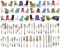 Weinleselehnsessel und Tafelsilber, antike Löffel, Gabeln, Messer, Schöpflöffel, Kuchenschaufeln lokalisiert auf lokalisiertem we stockfotos