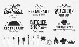 6 Weinleselogoschablonen und 14 Gestaltungselemente für Restaurantgewerbe Schlächterei, Grill, Restaurantemblemschablonen Vektor stock abbildung
