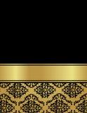 Weinleseluxuskarte mit nahtlosem Muster des Damastes Lizenzfreie Stockfotos