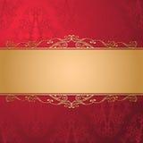 Weinleseluxusvektorhintergrund Goldenes verziertes Band auf rotem nahtlosem Damastmuster vektor abbildung