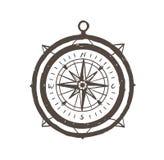 Weinlesemagnetkompasshand gezeichnet mit Entwürfen auf weißem Hintergrund Touristisches Instrument für Navigation, Orientierung stock abbildung
