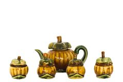 Weinlesemangostanfrucht-Teekannenfamilie Stockbilder