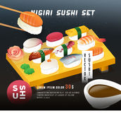 Weinlesemeeresfrüchte-Plakatdesign Vektorillustration eines nigiri Sushis stellte auf den Teller mit Ingwer und Wasabi ein japani Stockbilder