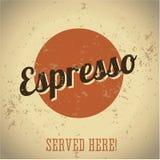 Weinlesemetallzeichen - Kaffee-Espresso stock abbildung