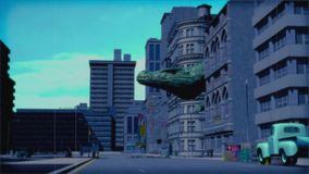 Weinlesemonster: riesiger Dinosaurier in der Stadtfarbe stock video footage
