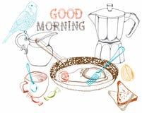Weinlesemorgen-Frühstückshintergrund Stockfotos