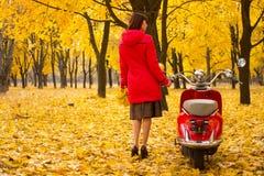 Weinlesemotorrad im Herbstwald Stockbilder