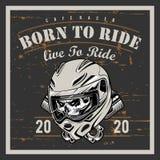 Weinlesemotorrad-T-Shirt Grafiken Getragen zu reiten Fahrt zu leben Radfahrert-shirt Motorrademblem Einfarbiger Sch?del Vektor stock abbildung
