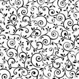 Weinlesenahtloses Schwarzweiss-Blumenmuster Auch im corel abgehobenen Betrag lizenzfreie abbildung