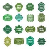 Weinlesenatürliches organisches Bioproduktvektorgrüntag, -aufkleber, -embleme und -ausweise Stockbilder