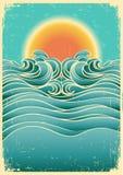 Weinlesenatur-Meerblickhintergrund mit Sonnenlicht O lizenzfreie abbildung