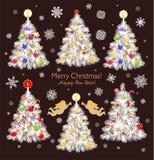 Weinlesepapier, das Weihnachtsweiße Baumsammlung mit Flitter, Bonbons, Plätzchen, Süßigkeit, Engeln, Stern und Lebkuchen, Papierh lizenzfreie abbildung