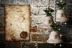 Weinlesepapierbeschaffenheiten mit Glocken Lizenzfreies Stockfoto