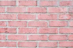 Weinlesepastellrosa-Farbbacksteinmauer horizontal Säubern Sie Hintergrund für Design Stockbilder