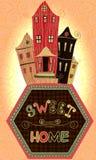 Weinleseplakat-Bonbonhaus Karikaturkonzeptkarte mit Häusern und Bäumen in den Retro- Farben Stockfotos