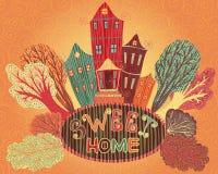 Weinleseplakat-Bonbonhaus Karikaturkonzeptkarte mit Häusern und Bäumen in den Retro- Farben Lizenzfreie Stockbilder