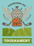 Weinleseplakat für Golfturnier Auch im corel abgehobenen Betrag lizenzfreie abbildung