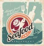 Weinleseplakat für Meeresfrüchterestaurant lizenzfreie abbildung