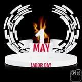 Weinleseplakat, Fahne oder Fliegerdesign für Werktagsesprit den 1. Mai Lizenzfreie Stockfotografie
