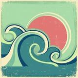 Weinleseplakat. Meerblick-Plakatesprit des Vektors abstrakter lizenzfreie abbildung
