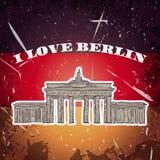 Weinleseplakat mit Berlin Brandenburg Gate auf dem Schmutzhintergrund Retro- Illustration in der Skizzenart 'ich lov Lizenzfreie Stockfotos