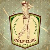 Weinleseplakat mit dem Schattenbild des Mannes Golf spielend Stockbild