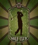 Weinleseplakat mit dem Schattenbild des Mannes Golf spielend Retro- Hand gezeichneter Vektorillustrations-Aufklebergolfclub Lizenzfreies Stockfoto