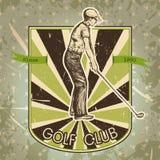 Weinleseplakat mit dem Schattenbild des Mannes Golf spielend Retro- Hand gezeichneter Vektorillustrations-Aufklebergolfclub Stockfotografie