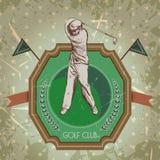 Weinleseplakat mit dem Schattenbild des Mannes Golf spielend Retro- Hand gezeichneter Vektorillustrations-Aufklebergolfclub Stockbild