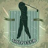 Weinleseplakat mit dem Schattenbild des Mannes Golf spielend Retro- Hand gezeichneter Vektorillustrations-Aufklebergolfclub Stockbilder