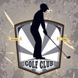 Weinleseplakat mit dem Schattenbild des Mannes Golf spielend Retro- Hand gezeichneter Vektorillustrations-Aufklebergolfclub Lizenzfreie Stockfotografie