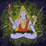 Weinleseplakat mit dem Sitzen des indischen Gottes Shiva auf dem Schmutzhintergrund Stockfotografie