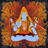 Weinleseplakat mit dem Sitzen des indischen Gottes Shiva auf dem Schmutzhintergrund Stockbilder