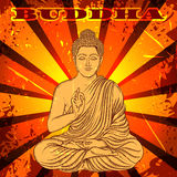 Weinleseplakat mit dem Sitzen von Buddha auf dem Schmutzhintergrund über rundem Muster der aufwändigen Mandala Lizenzfreies Stockfoto