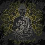 Weinleseplakat mit dem Sitzen von Buddha auf dem Schmutzhintergrund über rundem Muster der aufwändigen Mandala Stockbild