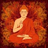 Weinleseplakat mit dem Sitzen von Buddha auf dem Schmutzhintergrund über rundem Muster der aufwändigen Mandala Stockbilder