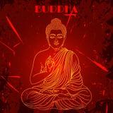 Weinleseplakat mit dem Sitzen von Buddha auf dem Schmutzhintergrund über rundem Muster der aufwändigen Mandala Lizenzfreie Stockfotografie