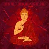 Weinleseplakat mit dem Sitzen von Buddha auf dem Schmutzhintergrund über rundem Muster der aufwändigen Mandala Stockfoto