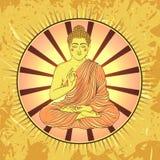 Weinleseplakat mit dem Sitzen von Buddha auf dem Schmutzhintergrund über rundem Muster der aufwändigen Mandala Lizenzfreies Stockbild