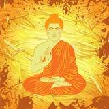 Weinleseplakat mit dem Sitzen von Buddha auf dem Schmutzhintergrund über rundem Muster der aufwändigen Mandala Stockfotos